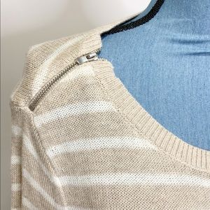 Banana Republic Sweaters - Banana Republic Striped Sweater Large Tan White